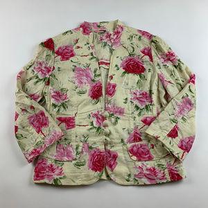 Banana Republic Jacket Floral Linen Blend Sz 8